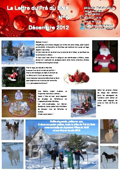 Lettre du pré du bois Décembre 2012